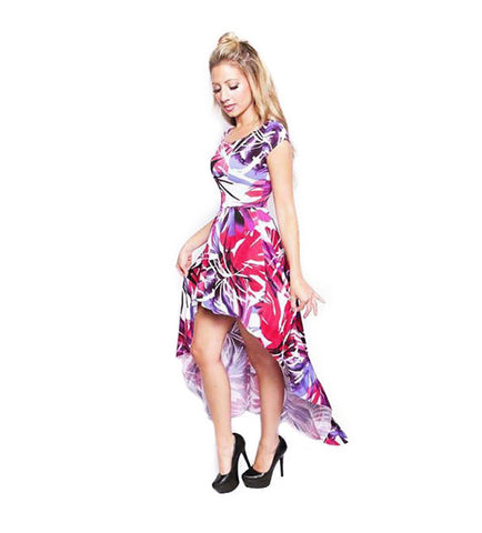 Palm Leaf Print High Low Boat Neck Dress - side view