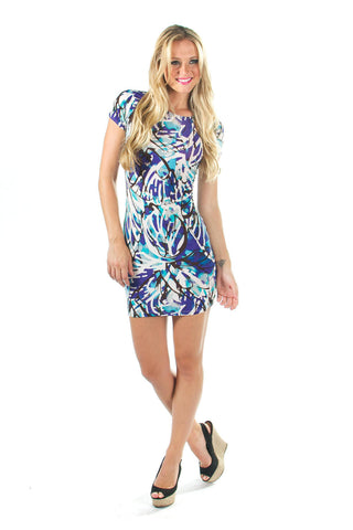Blue, Purple and White watercolor print with cap sleeves, criss cross back, open back, mini dress bodycon front view