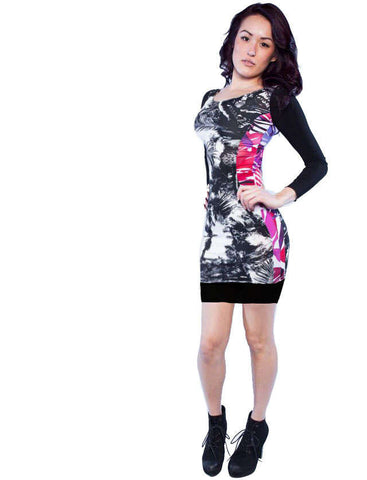 Designer Floral Tropical Bodycon Mini Dress Front View
