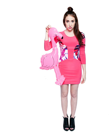 Palm Leaf Colorblock Cutout Pink Bodycon Dress - front view