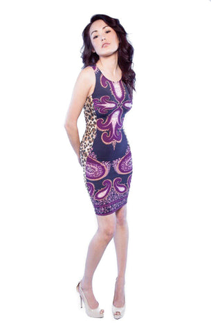 Paisley front leopard sides knit dress sleeveless and knee length front view
