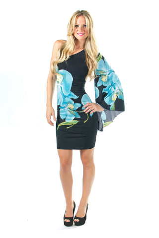 Blue orchid print one shoulder bell sleeve body con dress front view