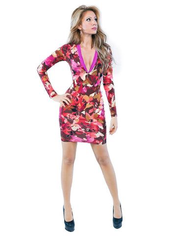 Leaf Print Flip Plunge Neck Bodycon Dress - front view