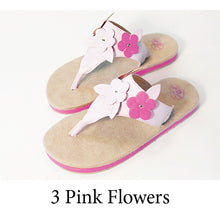 Swicharoos 3 Pink Flowers Uppers with Tan Soles