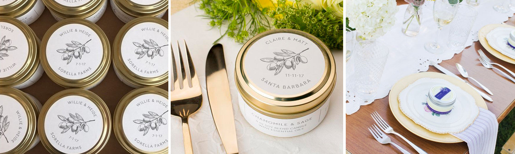 Custom wedding favors and custom fair trade soy blend candles handmade by women artisans at Prosperity Candle