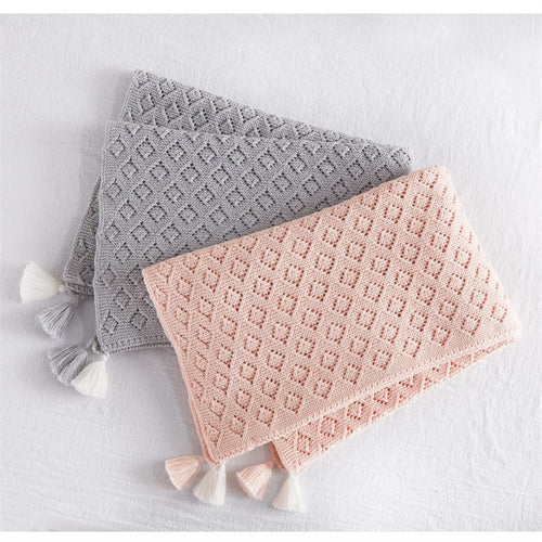 Grey Pointelle Blanket
