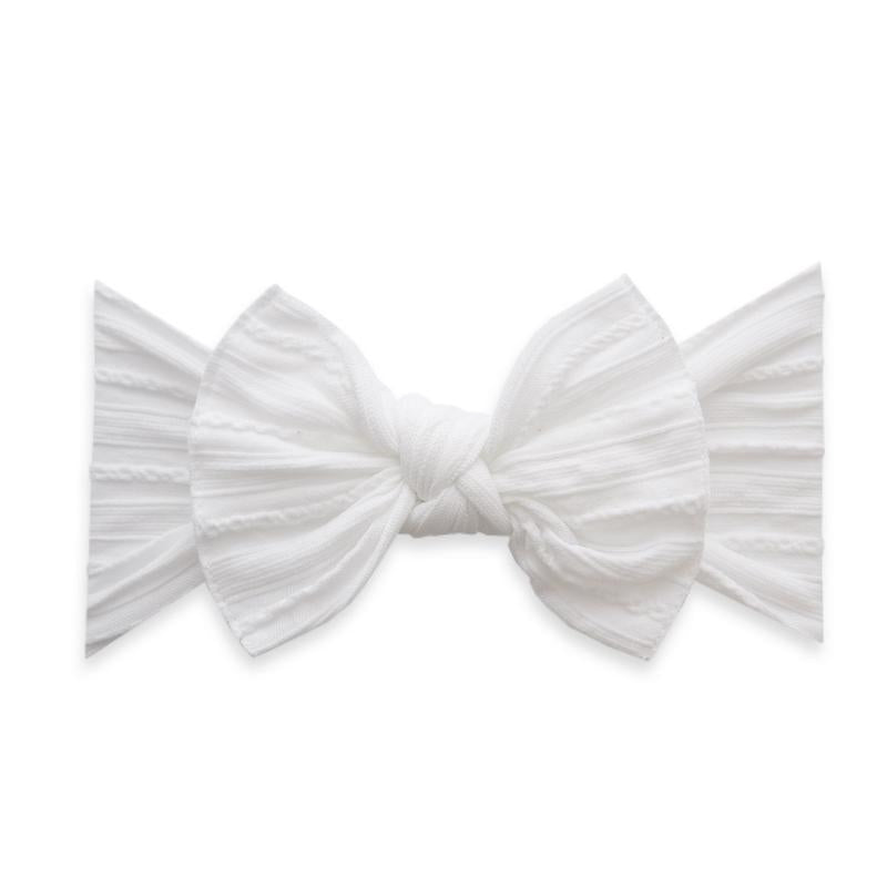 Cable Knit Bow | White