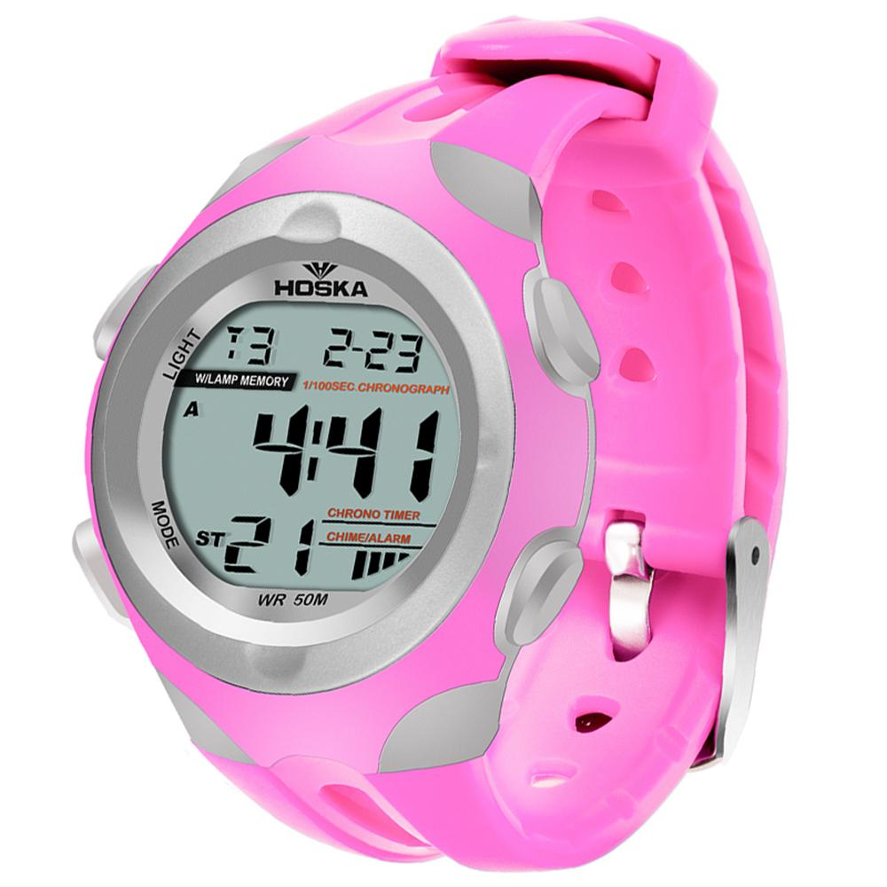 Modern Stylish Multi Time Zone Digital Watch - Pink - from Kids Watches NZ