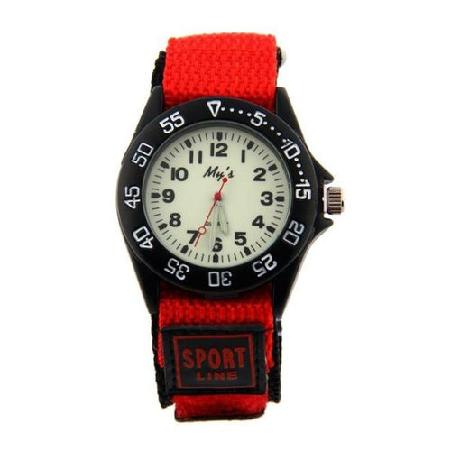 Boys Nylon Strap Watch with Glow in the Dark Numbers - Red - from Kids Watches NZ