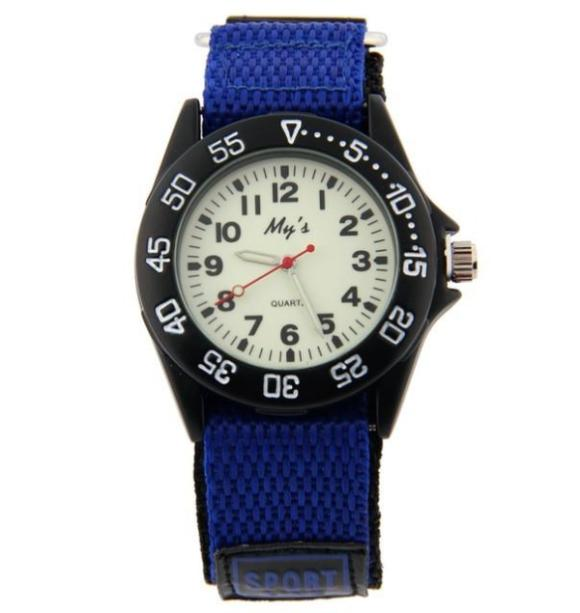 Boys Nylon Strap Watch with Glow in the Dark Numbers - Blue - from Kids Watches NZ