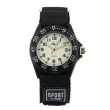 Boys Nylon Strap Watch with Glow in the Dark Numbers - Black - from Kids Watches NZ
