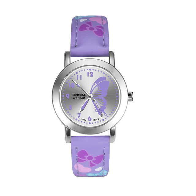 Girls watch with butterfly design - purple