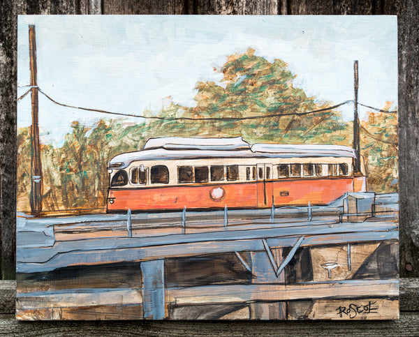Ashmont Trolley original Painting