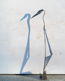 Blue Steel Heron Sculpture