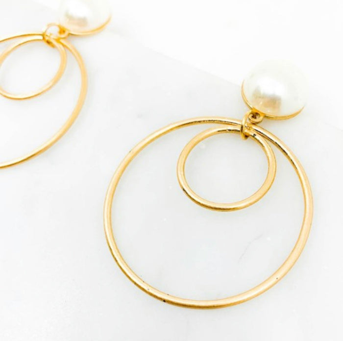 Pearl Hoop Drop Earrings