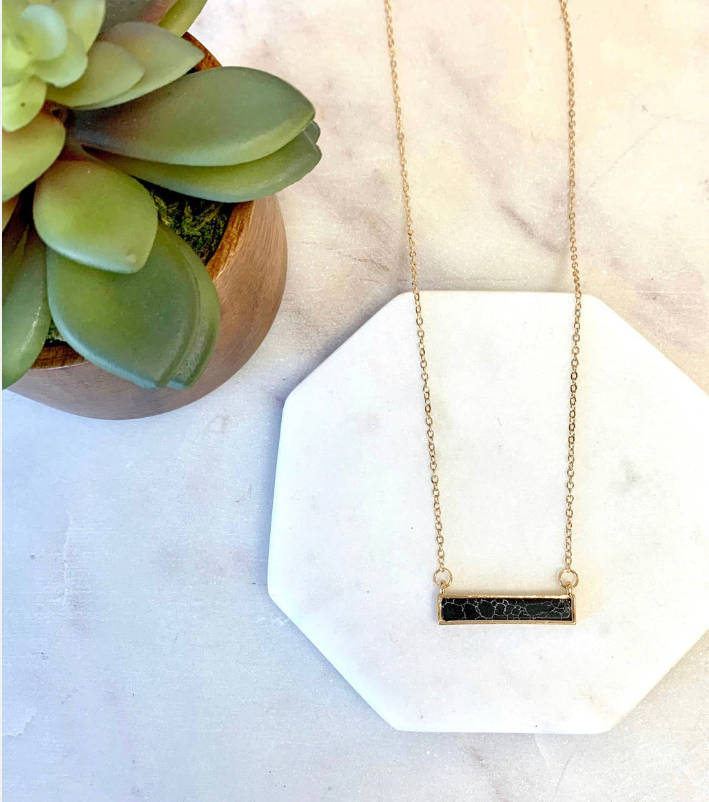 Black Marble Dainty Stone Necklace