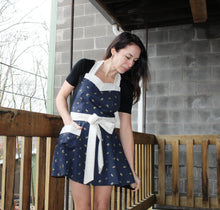 Flirty Apron - Navy & Gold Birds with White & Gold Geometric Accent