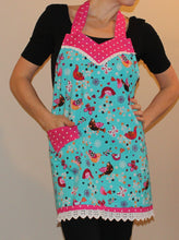 Fitted Apron - Blue Birds with Pink Polka Dot Accent & Eyelet Detail