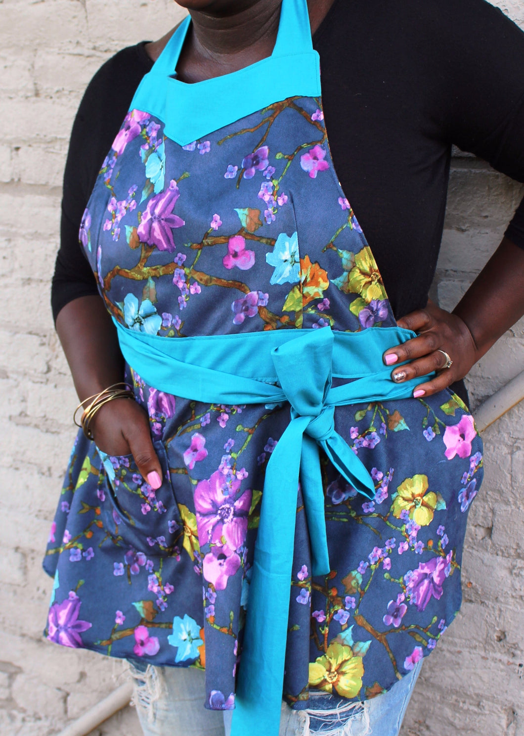 Flirty Plus Apron - Navy Blue Floral with Teal Accent