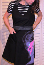 Fitted Apron - Black Material with David Bowie Face & Charcoal Sparkly Accent