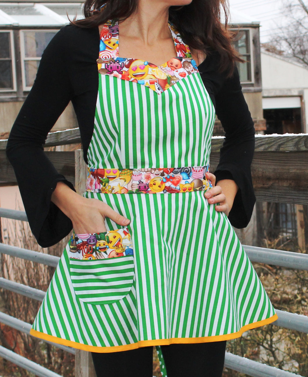 Flirty Apron - Green & White Stripes with Emoji Trim