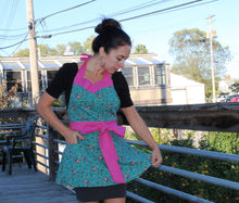 Flirty Apron - Green Floral with Pink Polka Dot Trim
