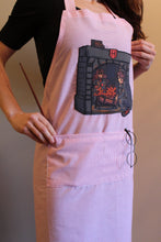 No-Nonsense Full Apron - Red & White Stripes with Harry Potter Scene