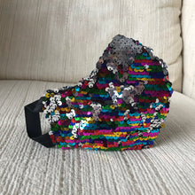Rainbow sequin/pleather face mask