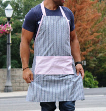 No-Nonsense Full Apron - Navy and White Chevron with Red Striped Accent