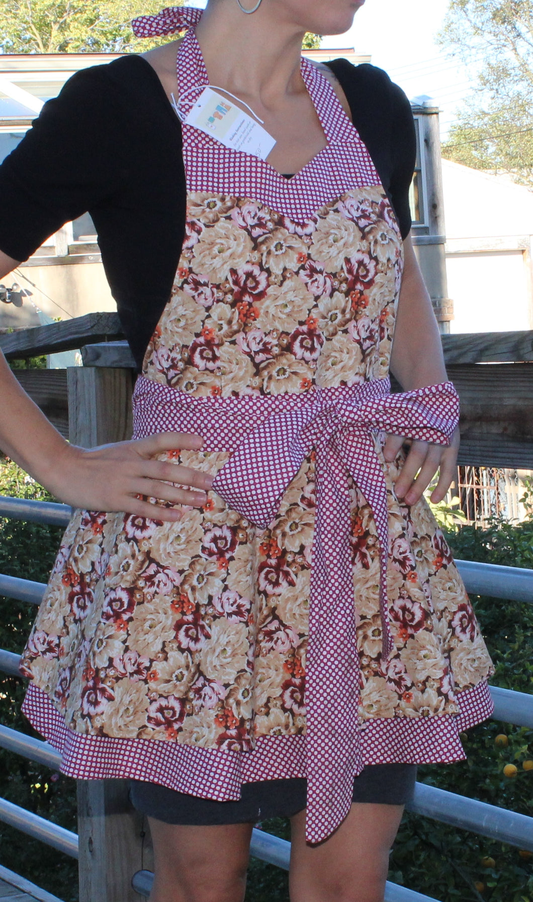 Flirty Apron - Maroon Floral with Polka Dot Trim
