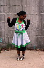 Flirty Apron - Gray & White and Green & White Polka Dot with MTV Logo