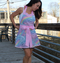 Flirty Apron - Pastel Rainbow and Clouds with Pink Sparkly Accent