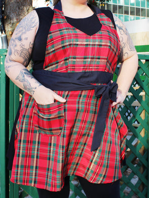 Fitted Apron - Red, Green & Gold Plaid with Black Accent