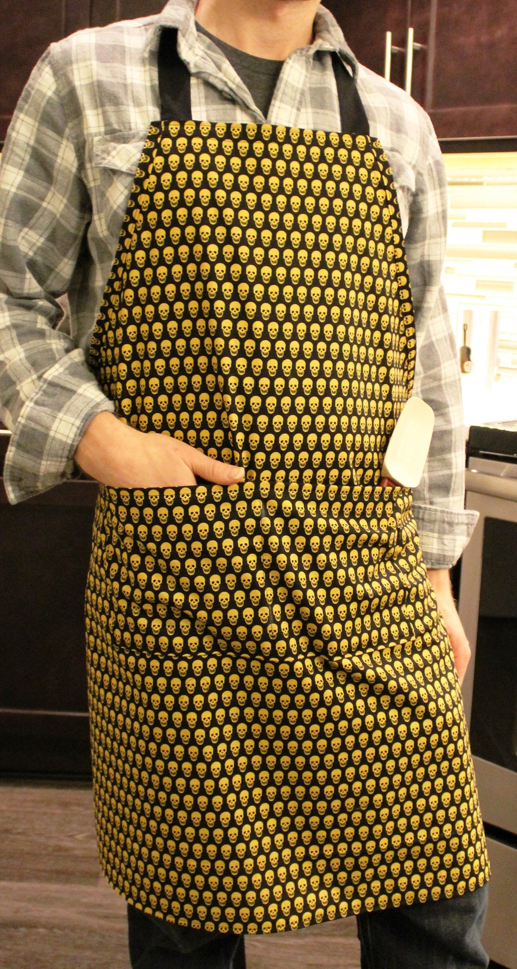 No-Nonsense Full Apron - Black with Yellow Skulls