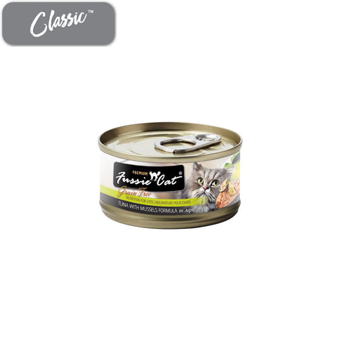 Fussie Cat Premium Tuna with Mussels Cat Cans