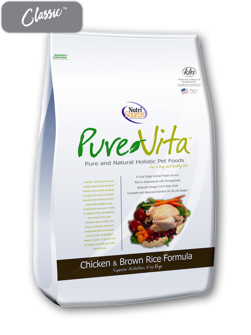 Pure Vita Chicken and Brown Rice Dog Food