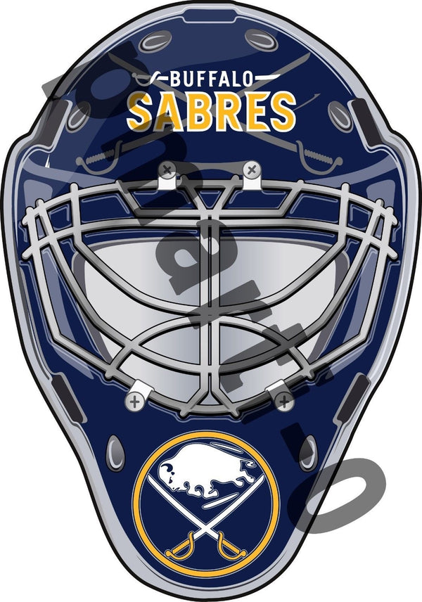 Buffalo Sabres Front Goalie Mask Vinyl Decal / Sticker 5 Sizes!!!