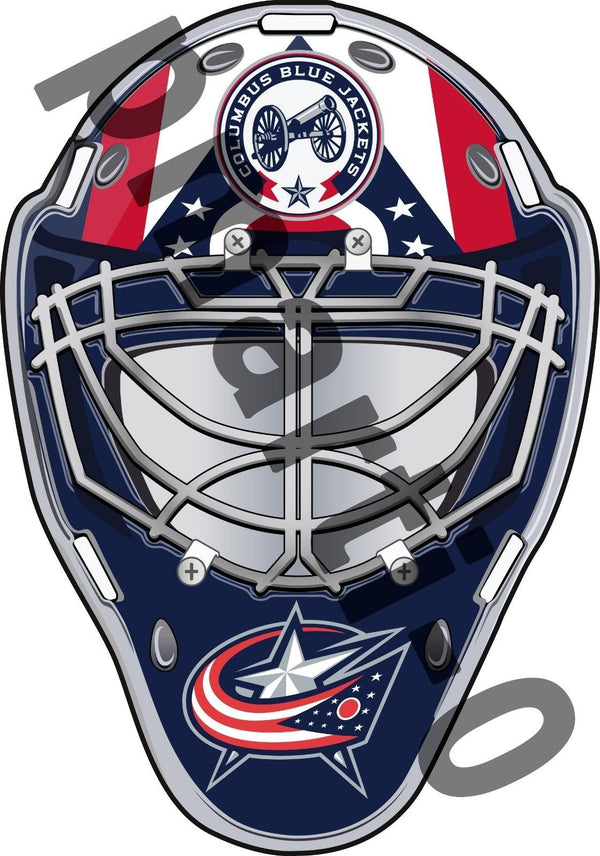 Columbus Blue Jackets Front Goalie Mask Vinyl Decal / Sticker 5 Sizes!!!