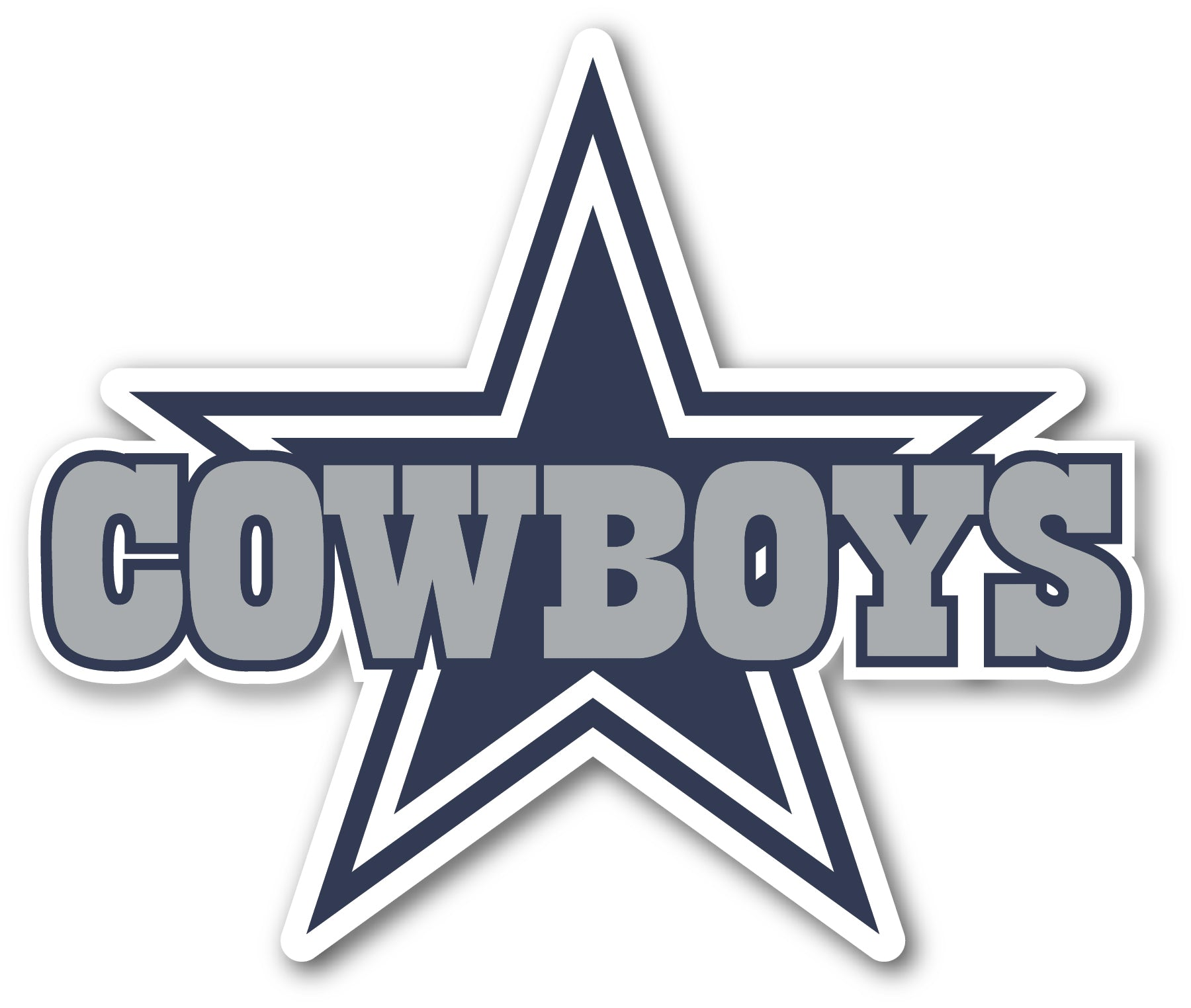 Dallas Cowboys Star with text Sticker Vinyl Decal