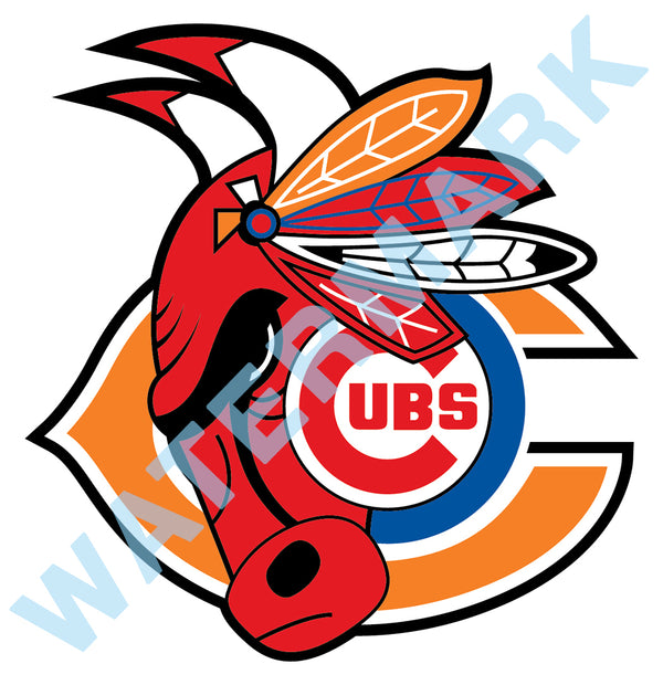 Chicago Cubs Bulls Bears Blackhawks MASH UP Vinyl Decal / Sticker 10 Sizes!!!