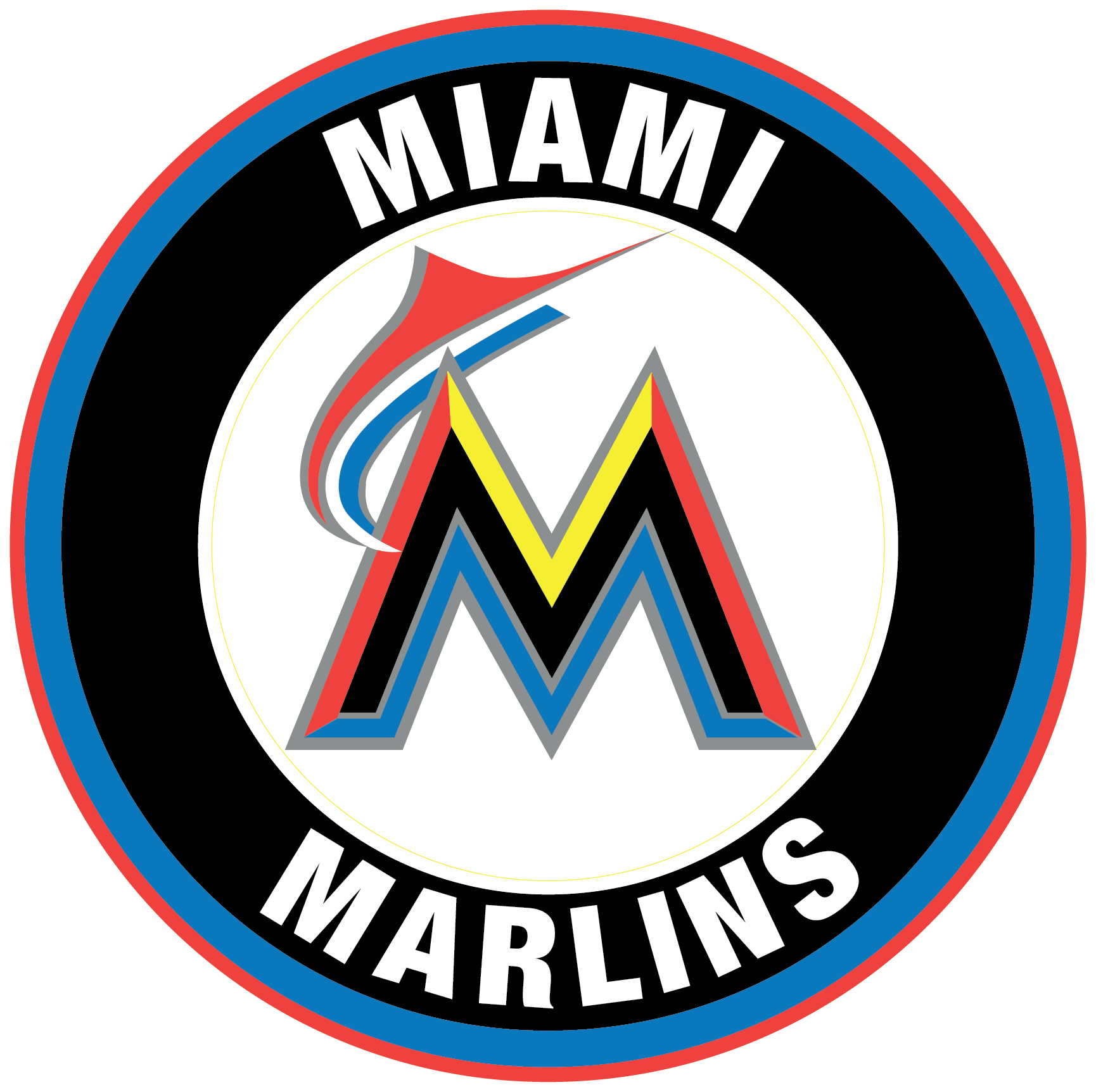 Miami Marlins logo Circle Logo Vinyl Decal Sticker 5 sizes!! | Sportz For Less