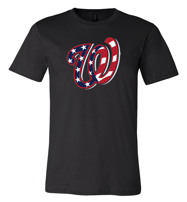 Washington Nationals Flag W Logo T-shirt 6 Sizes S-3XL!!