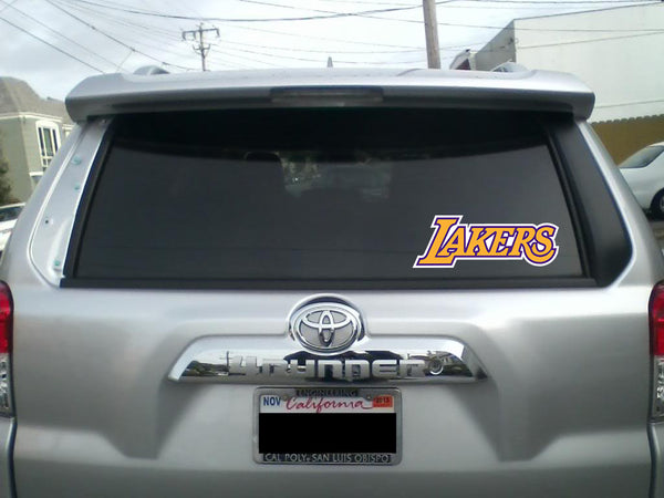 Los Angeles Lakers TEXT LOGO Vinyl Decal / Sticker 5 Sizes!!