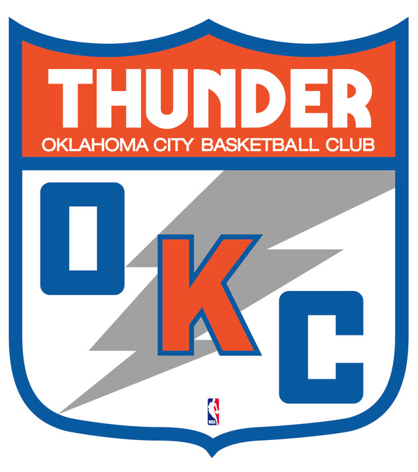Oklahoma City Thunder Shield  Logo Vinyl Decal / Sticker 2 Inches to 48 Inches!!