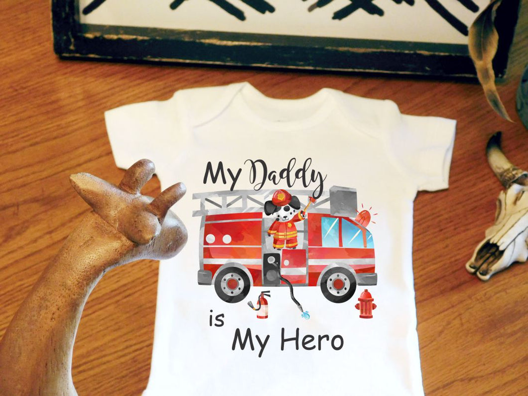 a0cc368a60904 Firefighter Baby Bodysuit - Fireman Baby - Daddy Is My Hero - Newborn Baby  Gift - Baby Shower Gift - Little LillyBug Designs