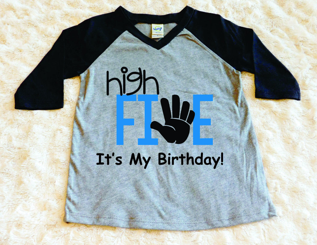High Five Its My Birthday Toddler Shirt 5th Boy Fifth