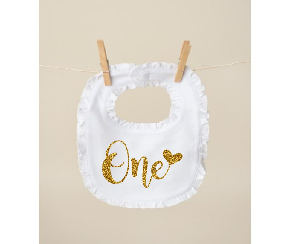 Awe Inspiring First Birthday Cake Smash Bib Girls First Birthday White Personalised Birthday Cards Veneteletsinfo