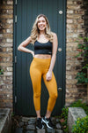 Mustard Capri ribbed seamless leggings