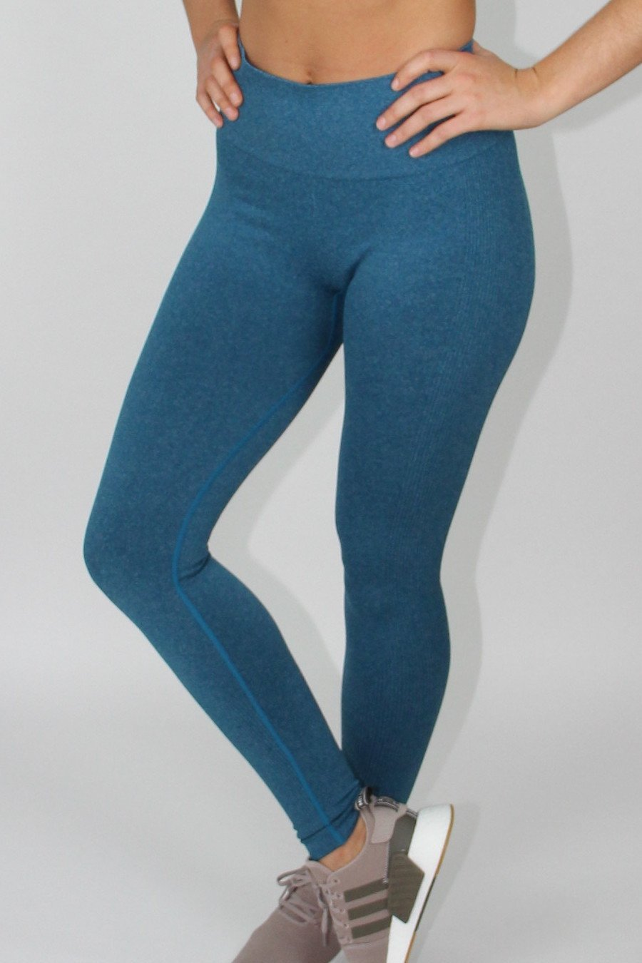 Blue ribbed seamless leggings