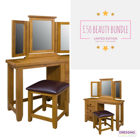Limited Edition Modern Oak Dressing Table With Stool Bundle